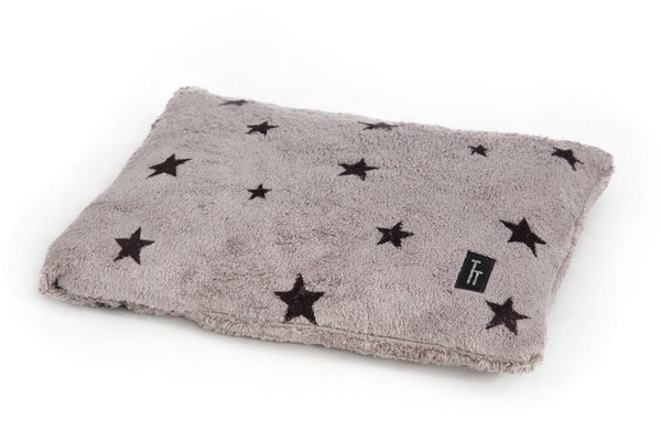 Designer Grey Star Print Dog Cushion - Tigga Towers