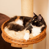 Round large wicker cat bed - Tigga Towers