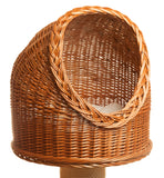 Wicker cat house bed with cat pillow - Tigga Towers
