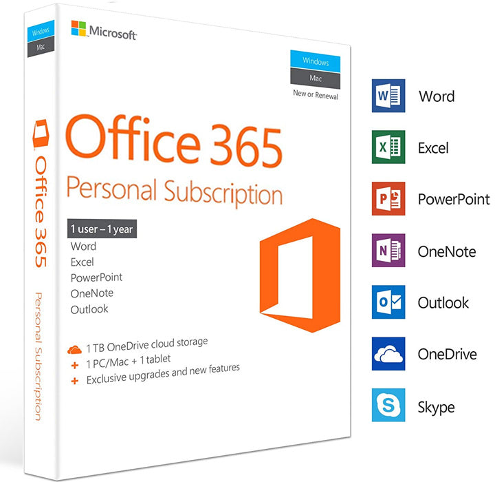 Microsoft Office 365 Personal - 1 User PC/MAC - 1 Year