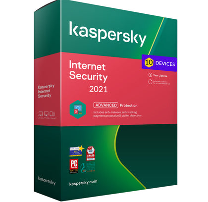 Kaspersky Internet security 2021 - 10 Devices MD 1 Year EU