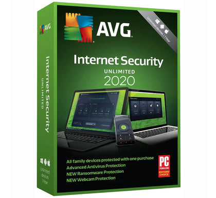 AVG Internet Security 2020 - Unlimited Devices (10 devices) 1 Year