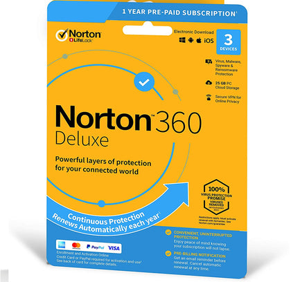 Norton 360 Deluxe + 25 GB Cloud storage  3-Devices 1 year EURO