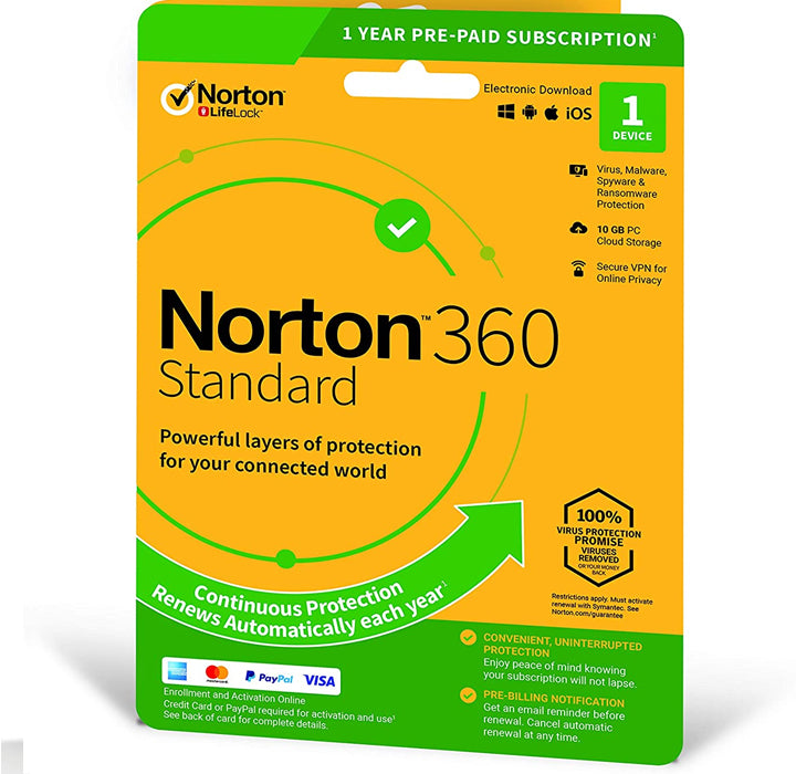 Norton 360 Standard + 10 GB Cloud storage 1Device 1 year EURO
