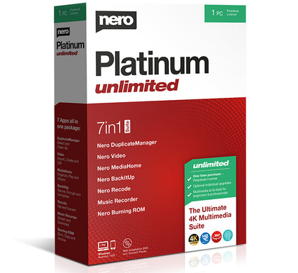 Nero Platinum Unlimited – 7in1 Multimedia Suite Lifetime licence