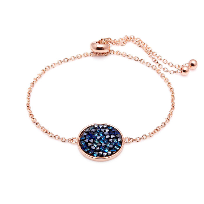 "Aura ""Aurora"" 18k Rose Gold Plated Bermuda Blue Swarovski Crystal Bracelet, Adjustable 8"""