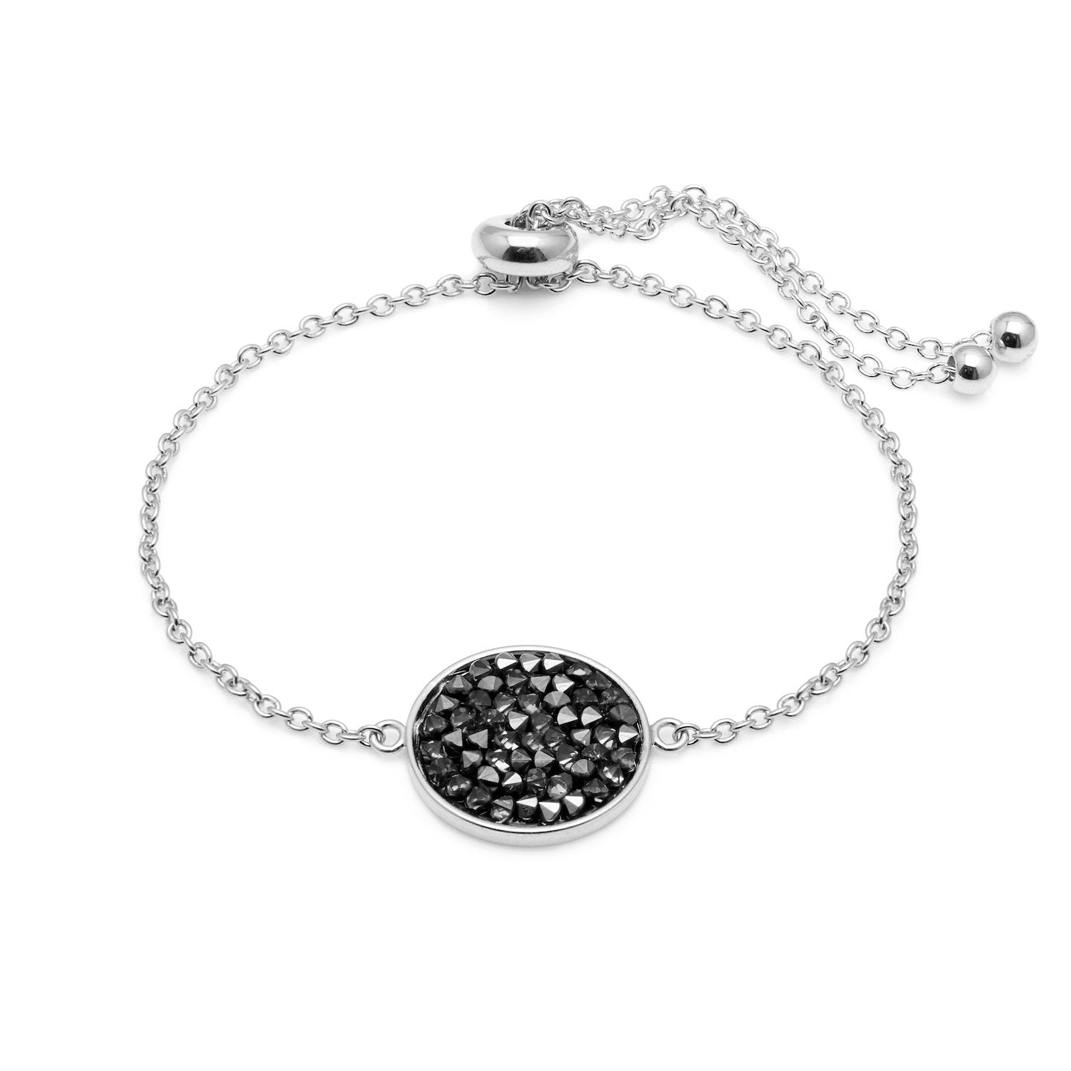 "Aura ""Aurora"" 18k White Gold Plated Metallic Silver Swarovski Crystal Bracelet, Adjustable 8"""