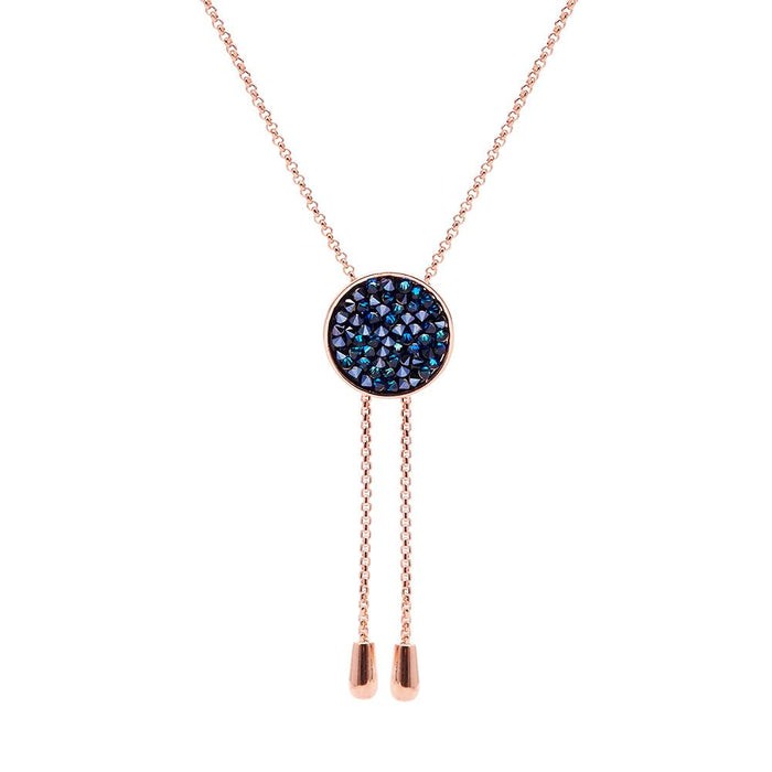 "Aura ""Aurora"" 18k Rose Gold Plated Bermuda Blue Swarovski Crystal Necklace, 18"""
