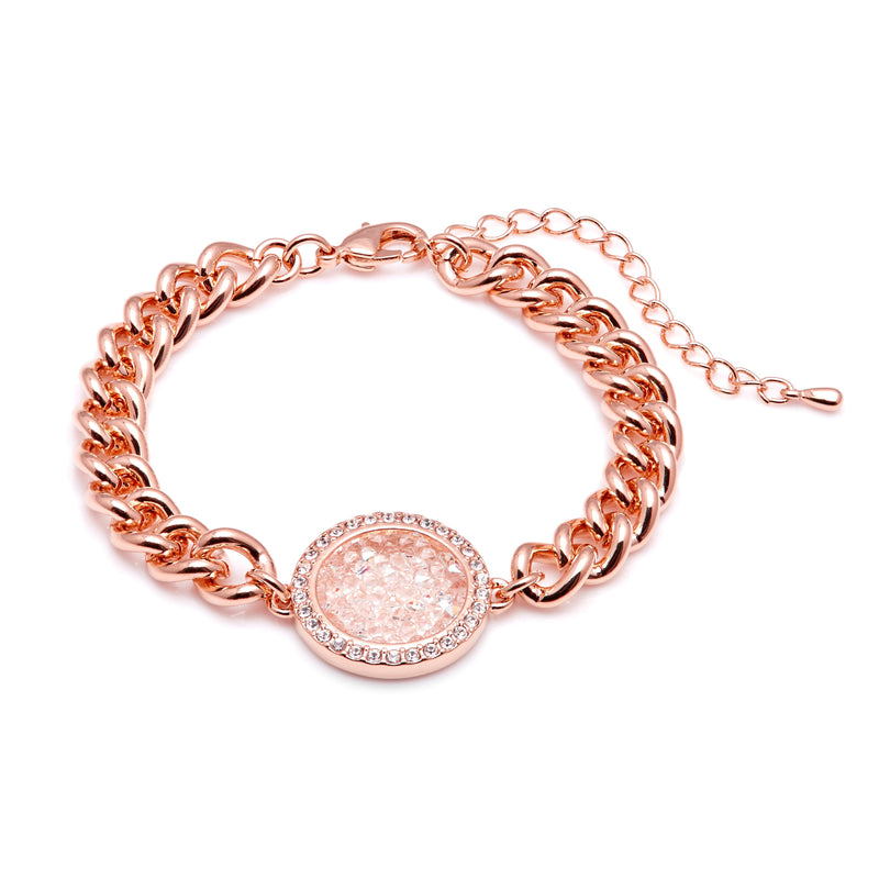 Aura 18k Rose Gold Plated Medallion Pendant Bracelet with Aurora Borealis Crystals from Swarovski¨ - Harpson Accessories