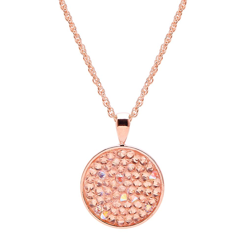Aura 18k Rose Gold Plated Lariat Pendant Necklace with Aurora Borealis Crystal Rocks from Swarovski¨