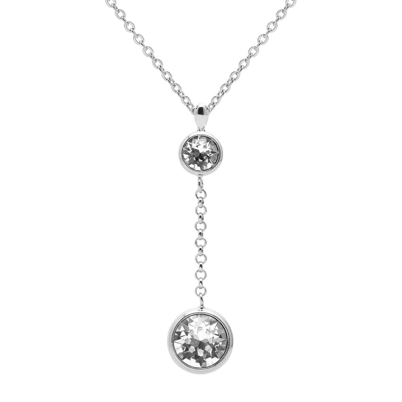 Aura 18k White Gold Plated Drop Chain Pendant Necklace with Crystals from Swarovski¨ - Harpson Accessories