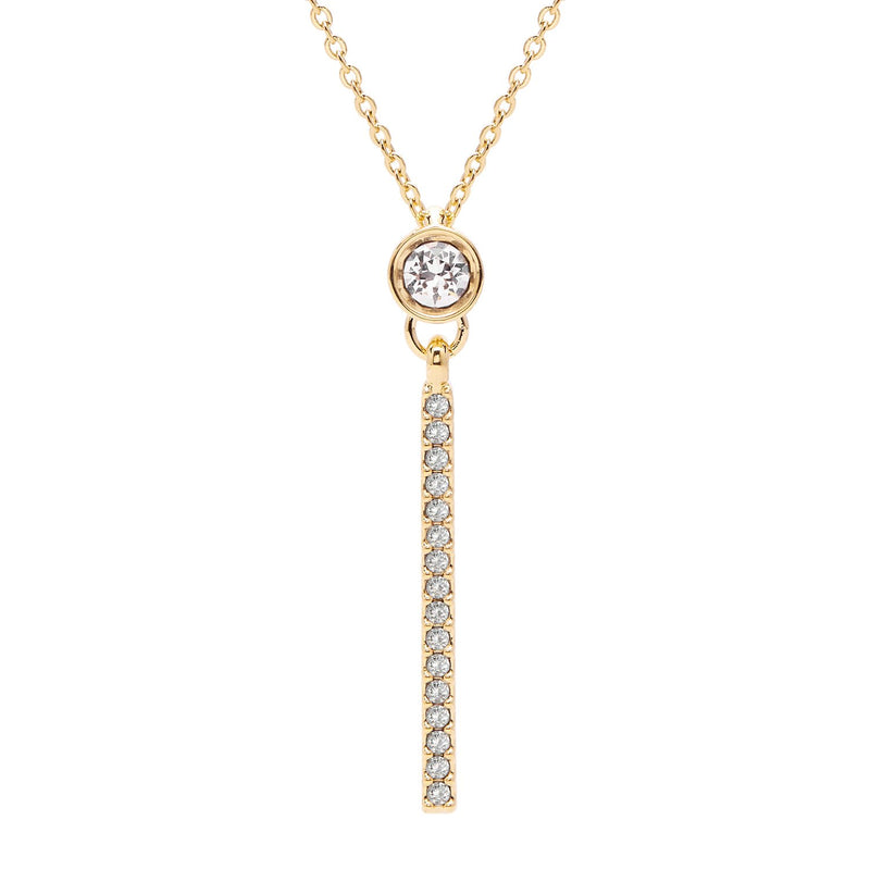 "Aura ""Bar"" 18k Gold Plated Swarovski Crystal Drop Pendant Necklace, 16"" with 2"" extender"