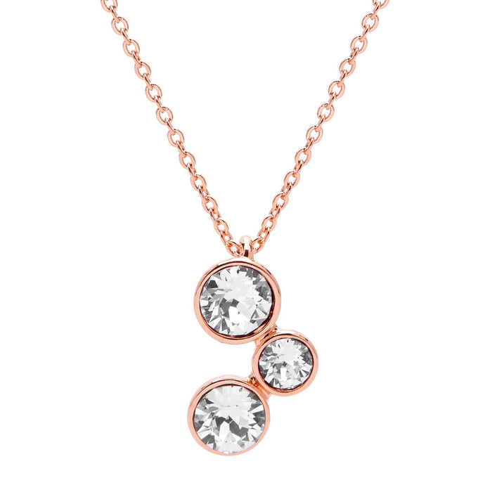 "Aura ""Athena"" 18k Rose Gold Plated Swarovski Crystal Pendant Necklace, 16"" with 2"" extender"