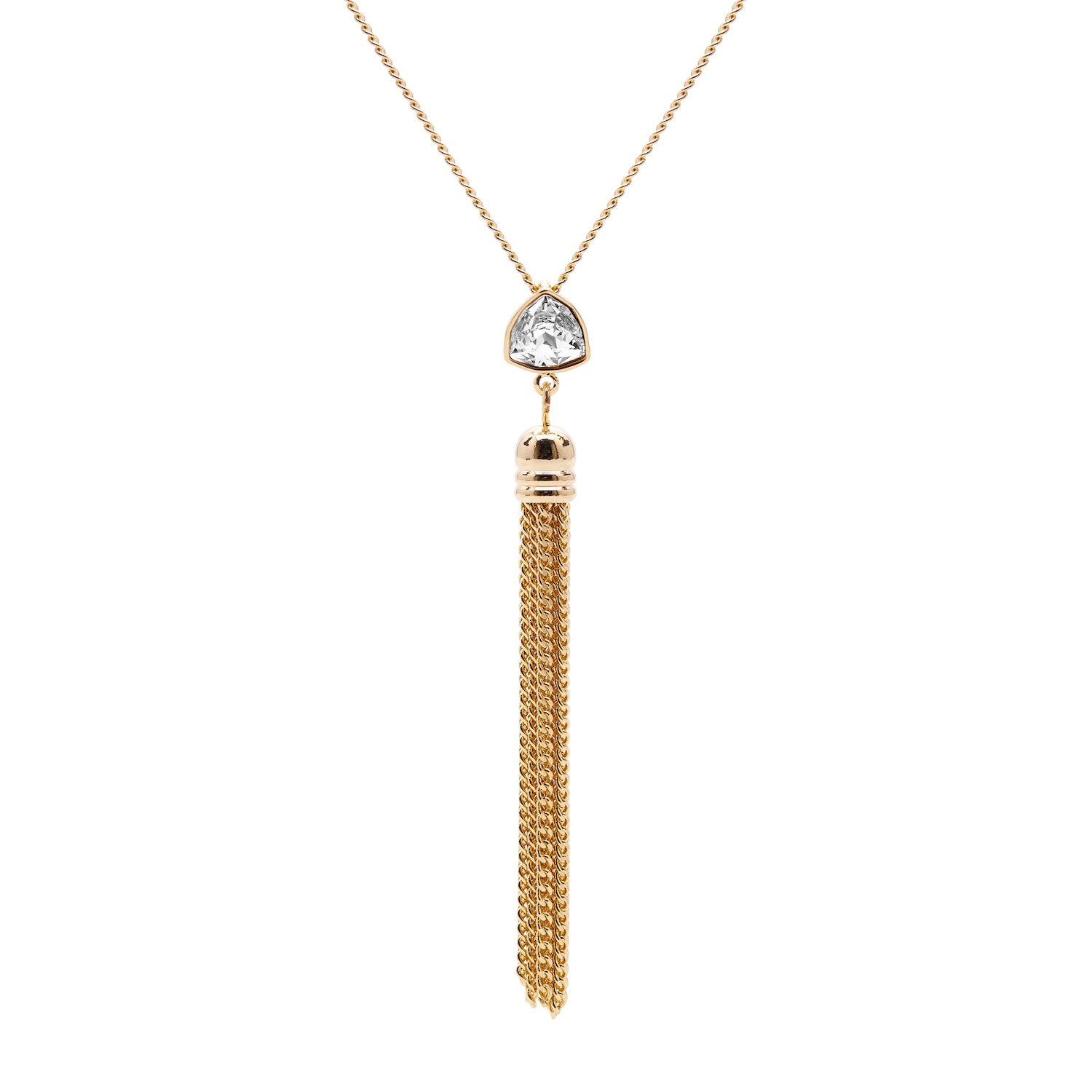 "Aura ""Drape"" 18k Gold Plated Swarovski Crystal Drop Chain Pendant Necklace, 18"" with 2"" extender"