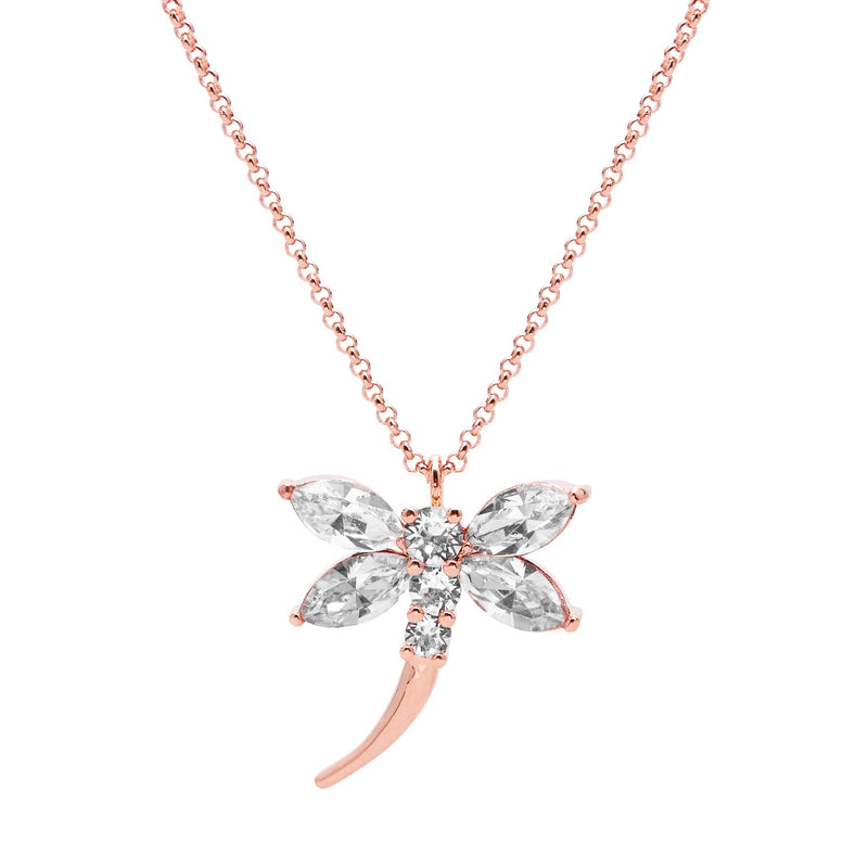 "Aura ""Dragonfly"" 18k Rose Gold Plated Swarovski Crystal Pendant Necklace, 19.5"" with 2"" extender"