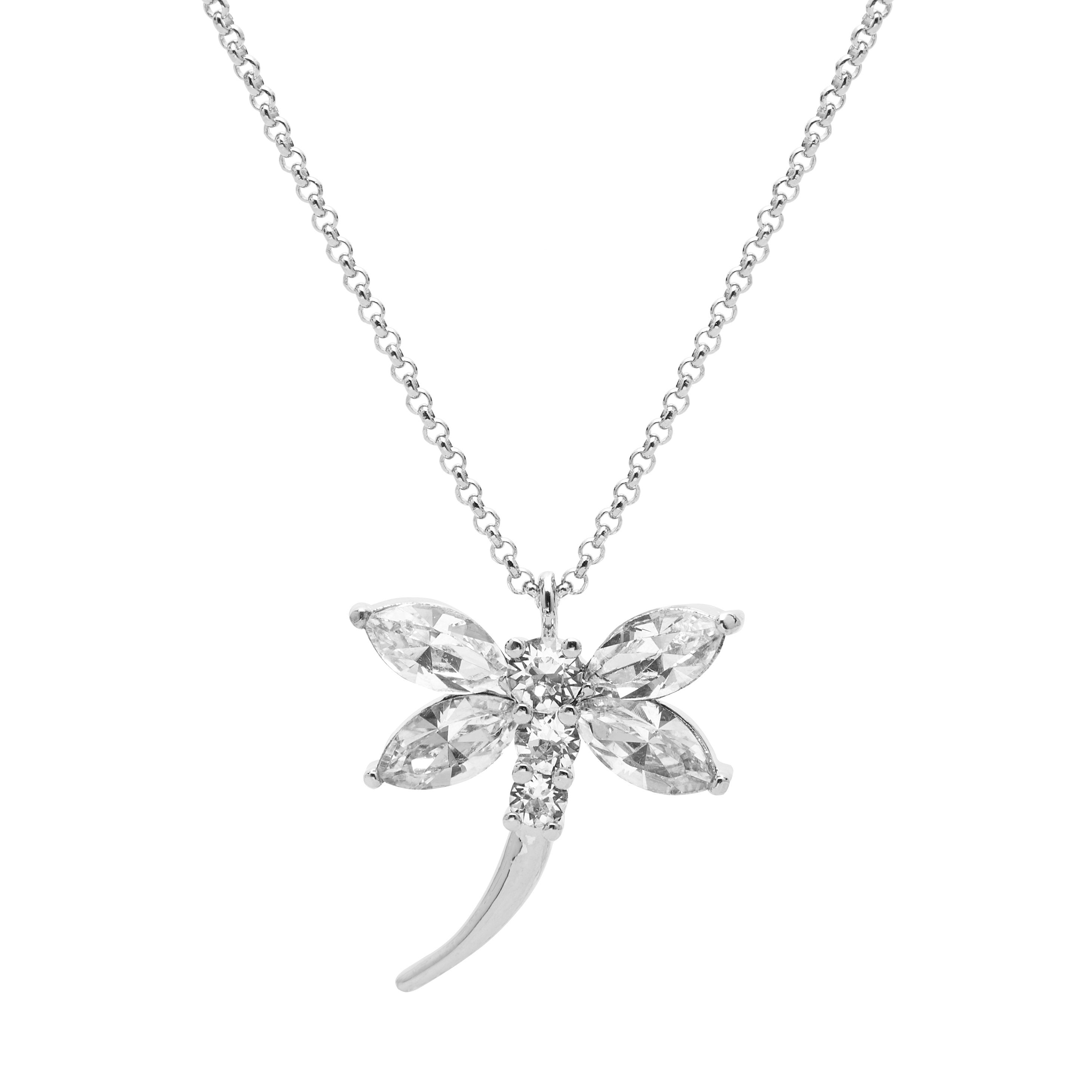 "Aura ""Dragonfly"" 18k White Gold Plated Swarovski Crystal Pendant Necklace, 19.5"" with 2"" extender"