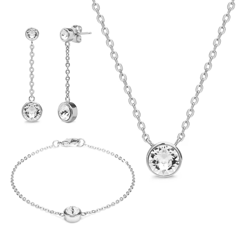 Aura 18k White Gold Plated Drop Chain Tri-Set with Crystals from Swarovski¨ - Harpson Accessories