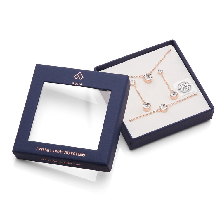 Aura 18k Rose Gold Plated Swarovski Crystal Pendant Necklace, Bracelet & Drop Earrings Set