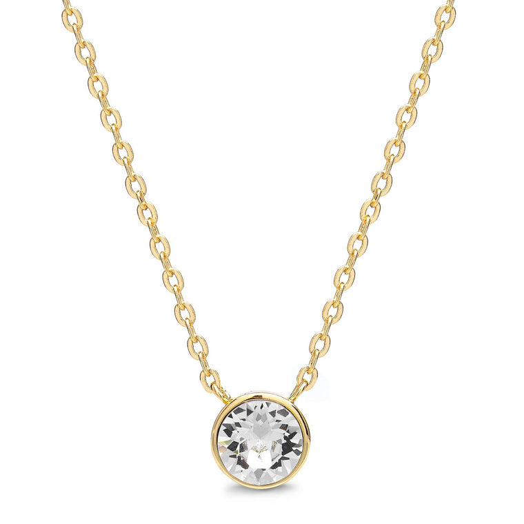Aura 18k Gold Plated Swarovski Crystal Pendant Necklace, Bracelet & Drop Earrings Set