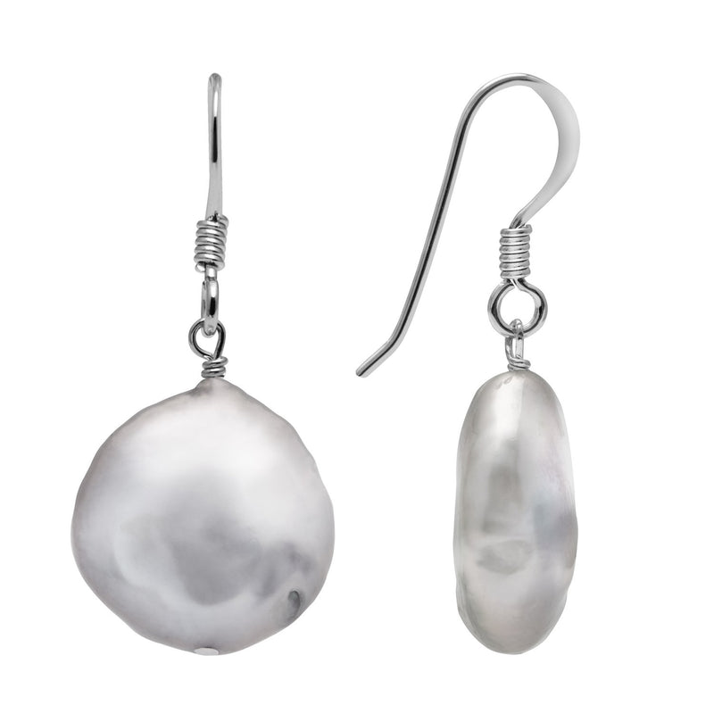 Kyoto Pearl Grey 12mm Freshwater Coin Pearl 925 Silver Drop Earrings