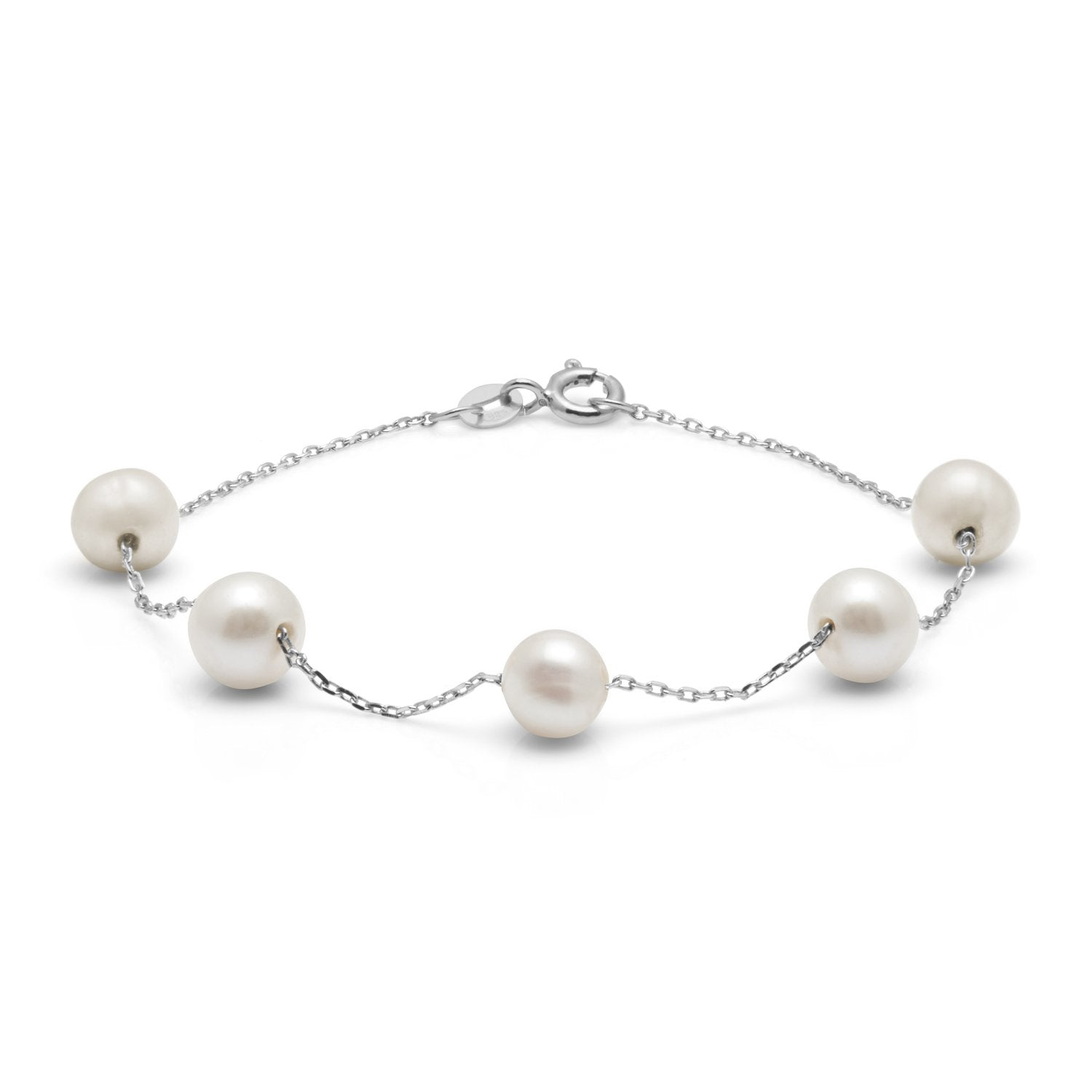Kyoto Pearl Classic Freshwater Pearl & 925 Silver Chain Bracelet