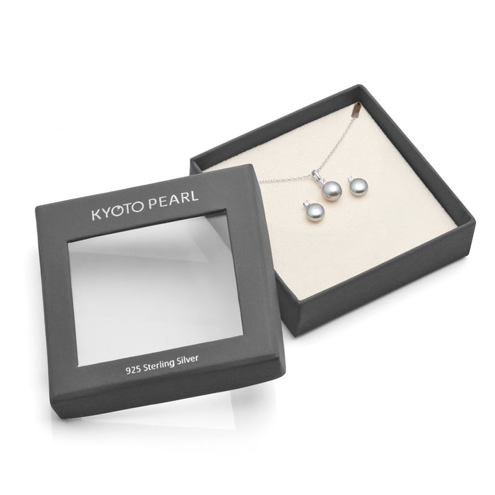 Kyoto Pearl Grey Pearl with White Sapphire Matching Earring & Pendant Set in 925 Silver - Harpson Accessories