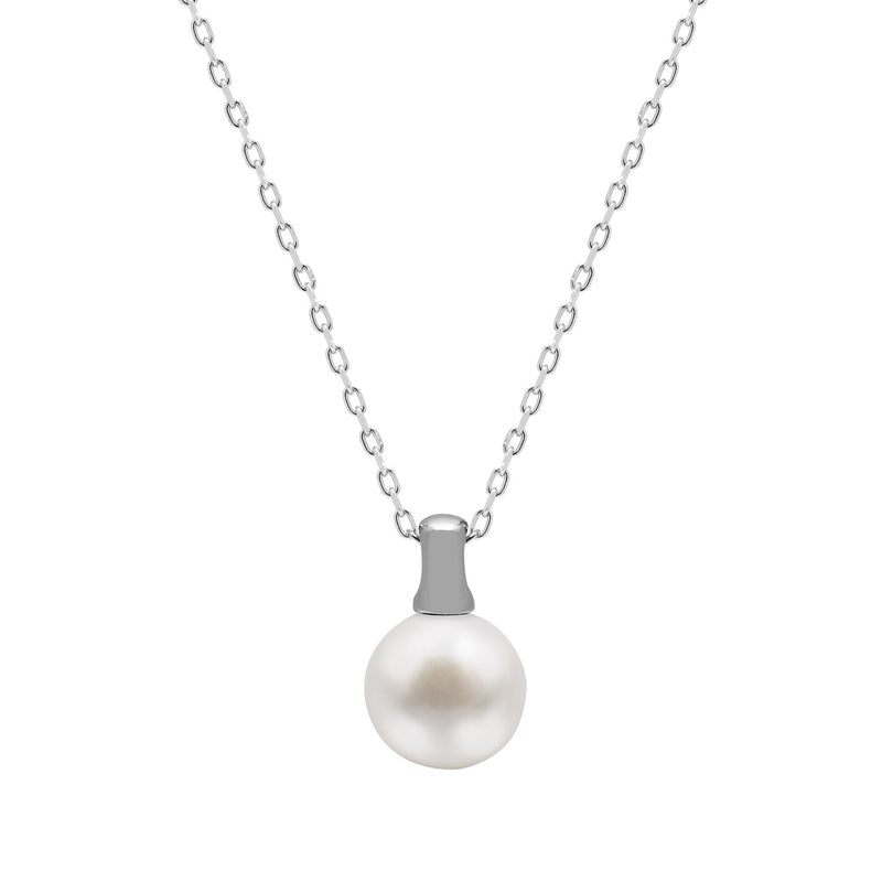 Kyoto Pearl Pink Button Freshwater Pearl 925 Silver Bale Pendant Necklace - Harpson Accessories