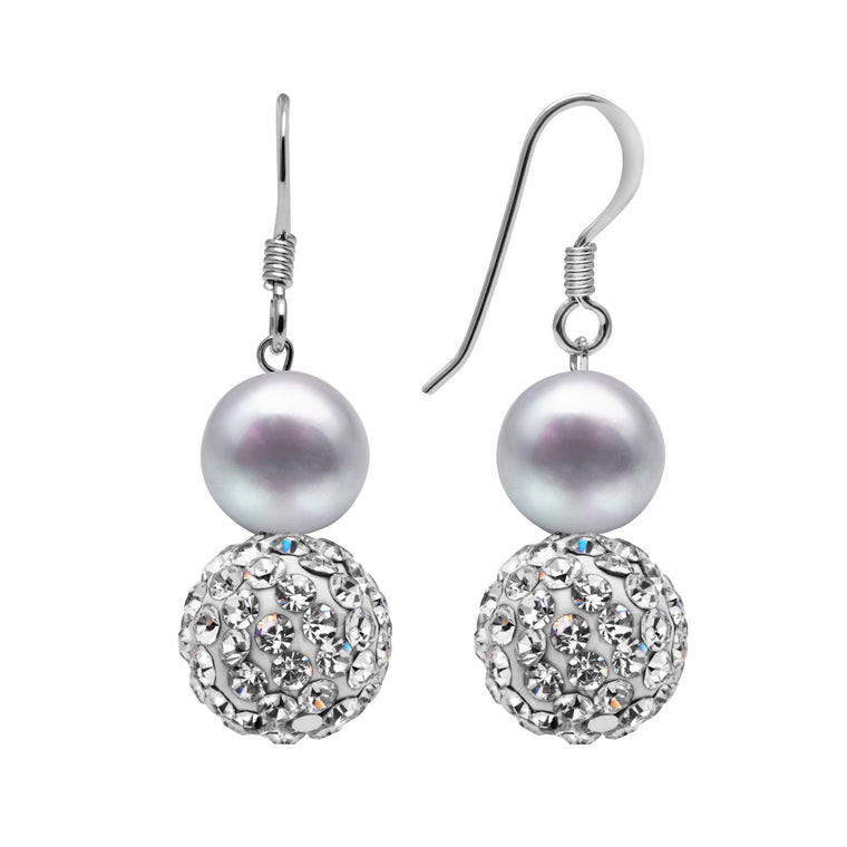Kyoto Pearl Grey Freshwater Pearl & Pave Crystal Ball Drop Earrings in 925 Silver
