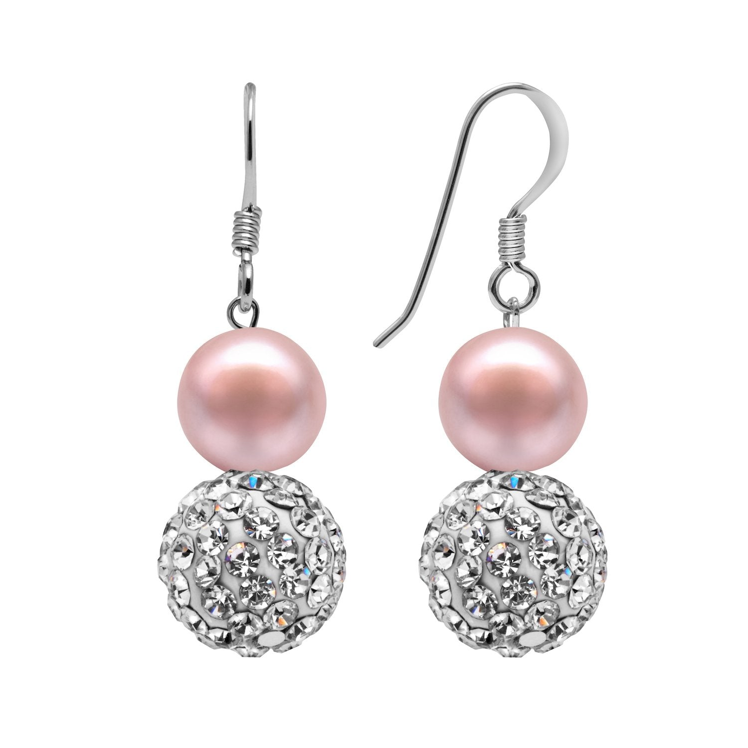 Kyoto Pearl Pink Freshwater Pearl & Pave Crystal Ball Drop Earrings in 925 Silver