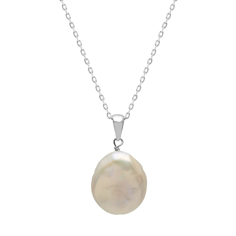 Kyoto Pearl White Freshwater Coin Pearl Pendant Necklace with 925 Silver