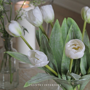 Faux Tulips, Faux Flowers, White Tulips, Set of 3