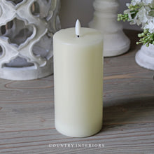 Load image into Gallery viewer, Medium LED Wax Pillar Candle - Ivory