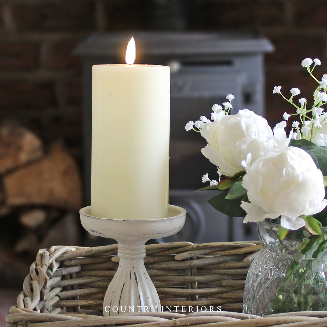Medium LED Wax Pillar Candle - Ivory