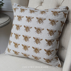 Recycled Bee Cushion - Mustard
