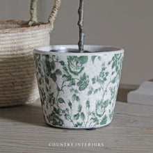Load image into Gallery viewer, Vintage Green Floral Pot
