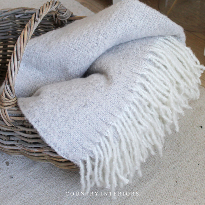 Throw with Tassels - Light Stone