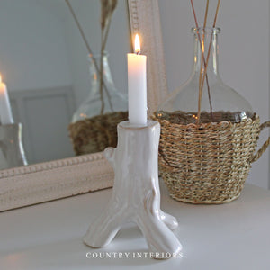 White Ceramic Candle Holder - Height 15cm