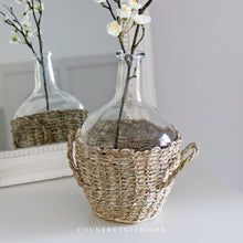 Load image into Gallery viewer, Clear Vase in Seagrass Basket