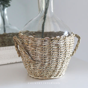 Clear Vase in Seagrass Basket