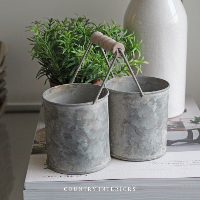Mini Zinc Double Plant Pot