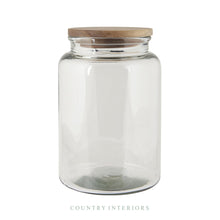 Load image into Gallery viewer, Glass Jar with Wooden Lid - Height 23cm