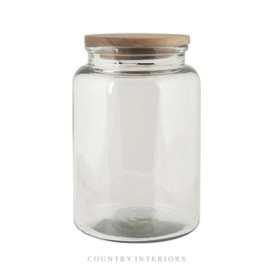 Glass Jar with Wooden Lid - Height 23cm