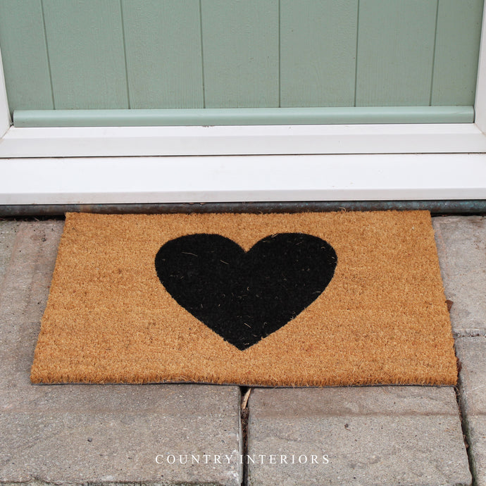 Natural Black Heart Door Mat