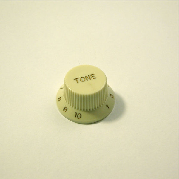 Tone knob, Strat-style, mint green, gold text