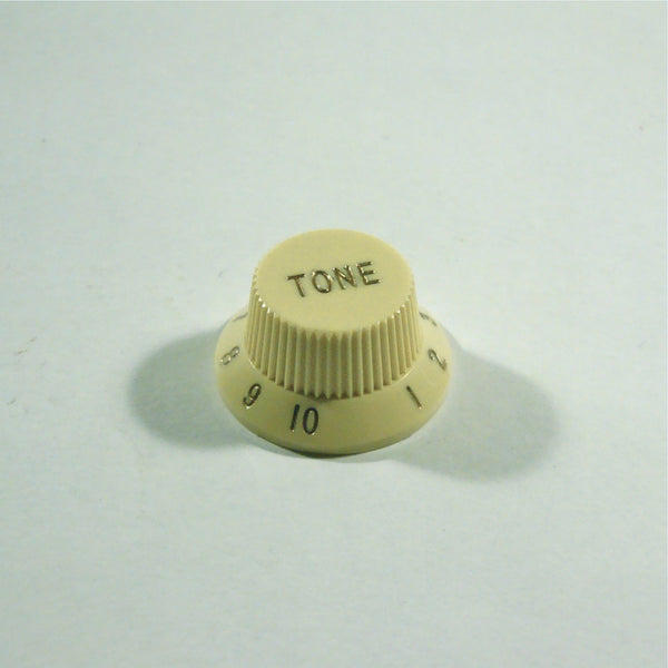 Tone knob, Strat-style, Ivory, fits both fine and coarse knurled pots