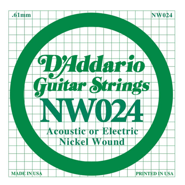 Daddario NW-024 single nickel wound string, .024
