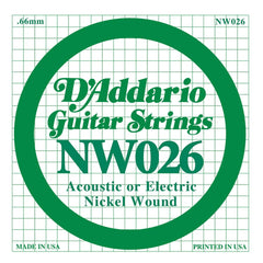 Daddario NW-026 single nickel wound string, .026