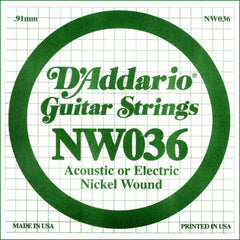 Daddario NW-036 single nickel wound string, .036