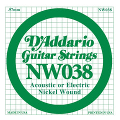 Daddario NW-038 single nickel wound string, .038