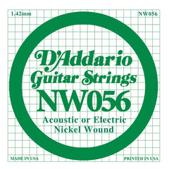 Daddario NW-056 single nickel wound string, .056